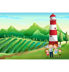 A family at farm with a high tower vector