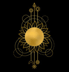 abstract pattern with gold sun moon star and vector image