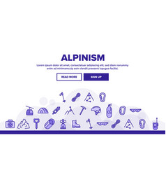 Alpinism and mountaineering equipment vector