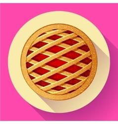 Apple Pie icon Flat designed style vector
