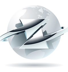 Arrow moves around of white globe vector