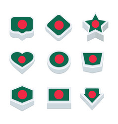Bangladesh flags icons and button set nine styles vector