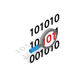 Binary code and magnifying glass icon vector