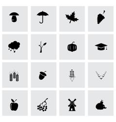 black autumn icon set vector image