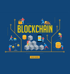 Blockchain scene with minimalistic people vector