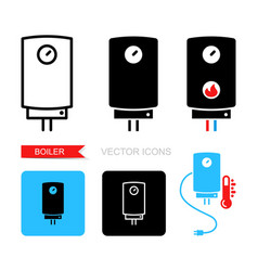 boiler icons symbol heating equipment vector image