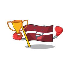 Boxing winner cartoon flag latvia in with mascot vector