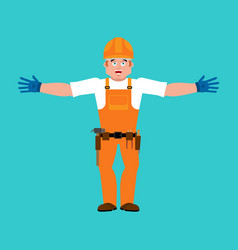 builder happy worker in protective helmet merry vector image