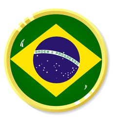button with flag Brazil vector image