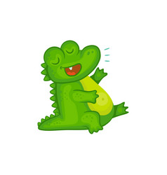 Cartoon character laughing crocodile or alligator vector