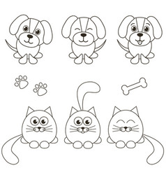Cat and dog icons isolated on white vector