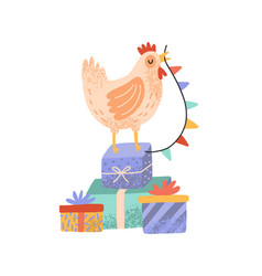 celebratory rooster standing on pile gift boxes vector image