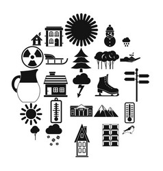 Chalet icons set simple style vector