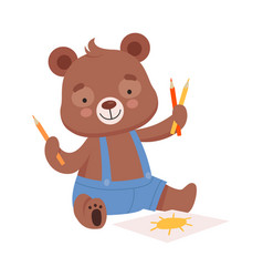 Cheerful bear character wearing playsuit drawing vector