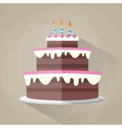 Chocolate birthday cake icon vector image