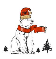 christmas card of polar bear with scarf vector image