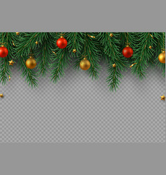 christmas decoration with fir tree branches vector image