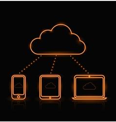 Cloud Neon Orange vector image