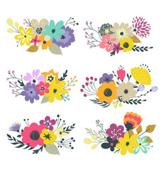 colorful set of floral compositions in vector image