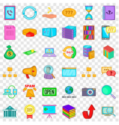 connection icons set cartoon style vector image