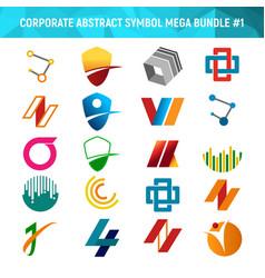Corporate abstract symbol mega bundle pack design vector