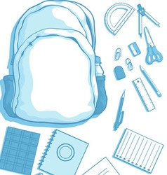 Costumizable Kits of School Bag and School vector image vector image