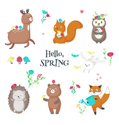cute funny spring animals isolated vector image