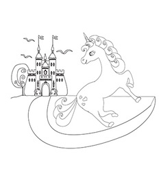 cute unicorn and fairy-tale princess castle vector image