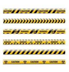 Danger ribbons set isolated white background vector