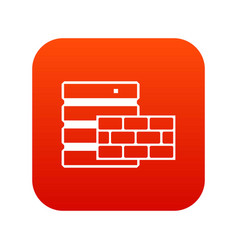 database and brick wall icon digital red vector image