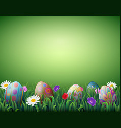 decorated easter eggs in a green grass background vector image