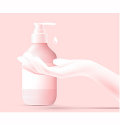 Disinfection concept liquid soap with pumping vector