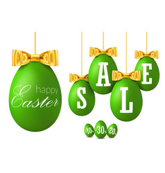 easter egg sale 3d happy easter hanging green vector image