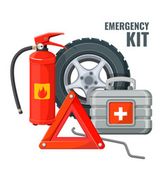 Emergency first aid kit and necessary auto service vector