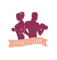 Fitness club logo with athletic girl and man vector