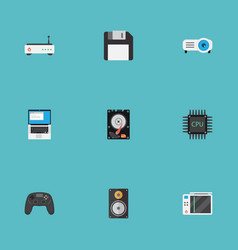 Flat icons laptop router hard disk and other vector