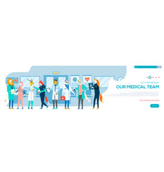 full length group doctors hospital vector image