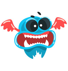 Funny toothy monster colorful fabulous blue vector