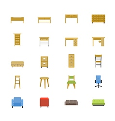 Furniture Office and Home Accessories Flat Icons vector image