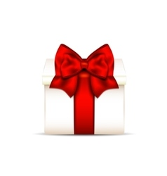 Gift box with red bow isolated on white background vector