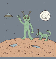 Green alien with dog vector