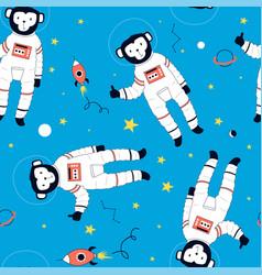 Hand drawn astronaut monkey seamless pattern vector