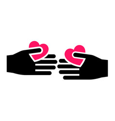 hands with hearts icon two-tone silhouette vector image