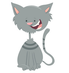Happy gray tabby cat cartoon animal character vector