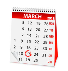 holiday calendar in st patricks day 2018 vector image
