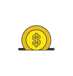 Icon concept dollar coin into moneybox hole vector