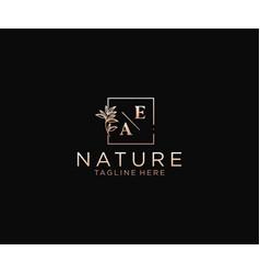 Initial ea letters beautiful floral feminine vector