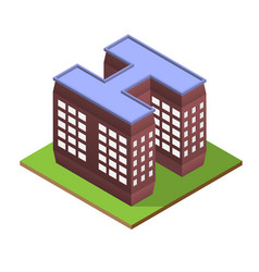 Isometric building letter h form vector