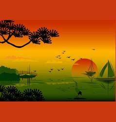Japan sunset vector