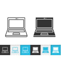 Laptop simple black line icon vector
